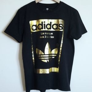 ADIDAS BLACK & GOLD T SHIRT